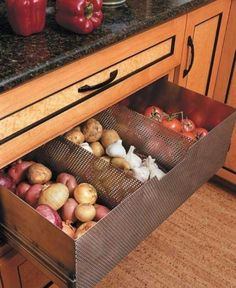 Ventilated food storage drawer! Awesome idea!!!