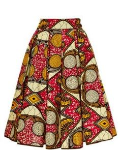 ♥Lena Hoschek printed wax cotton skirt features a softly pleate… Women Fashion African Dresses For Kids, African Fashion Skirts, African Print Fashion, Fashion Prints, African Print Skirt, African Print Dresses, African Prints, African Fabric, Crib Skirt Patterns