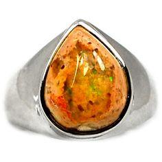 Mexican Opal 925 Sterling Silver Ring Jewelry s.8.5 MXOR480 - JJDesignerJewelry