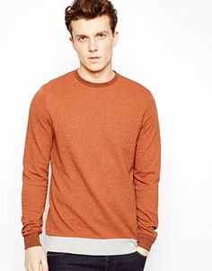 ASOS+Sweatshirt+In+Textured+Fabric+With+Contrast+Hem