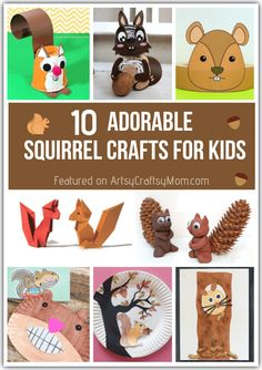 You'll find it hard to resist the collective cuteness of these adorable squirrel crafts for kids! Make them with paper, felt, play doh or even an old glove! Fall Preschool Activities, Art Activities For Toddlers, Preschool Projects, Craft Projects For Kids, Preschool Crafts, Fall Arts And Crafts, Fall Crafts For Kids, Toddler Crafts, Art For Kids