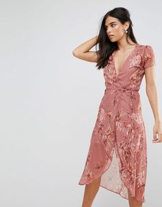 Hope & Ivy Floral Wrap Tea Dress - Pink