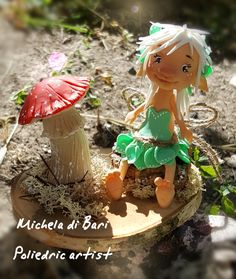 Elfa funghetta ❤ realizzata in porcellana fredda Clarena Art
