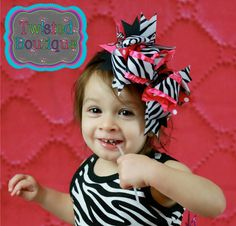 large OTT over the top zebra and hot pink bow by twistedboutique, $12.00