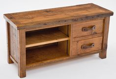 Barnwood Entertainment Center with Two Drawers and One Shelf