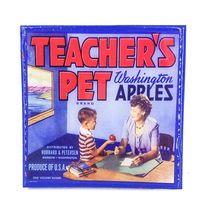 Handmade Coaster Teachers pet Brand - Vintage Citrus Crate Label - Handmade Recycled Tile Coaster