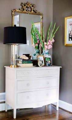 dresser, mirror, entry vignette