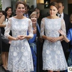 Charming High top Grade!!casual party dress Kate Middleton Women's dress Elegant full Embroidery Lace Free Shipping US $55.24