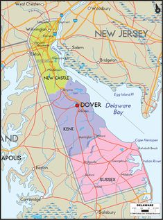 Map of Delaware includes major cities, towns, counties and road map of Delaware.