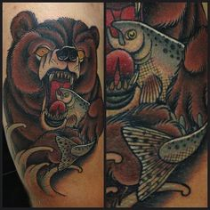 Hunting Neo-Traditional Bear (Fish) Tattoo By Lauren