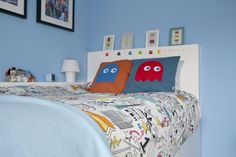 Ikea Hack children's cabin bed Handmade Pac-man Ghost cushions, Ikea duvet cover and Ikea ice lolly prints and frames. Ikea Kids Bed, Ikea Bed, Ikea Hack Bedroom, Kids Bedroom, Bedroom Loft, Dream Bedroom, Luxury Bedding Collections, Luxury Bedding Sets, Modern Bedding