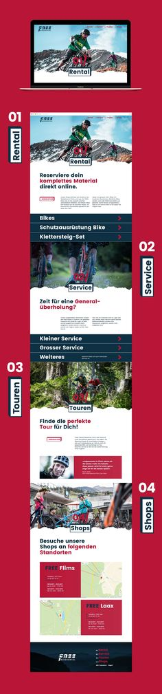 Customised Website Design, One Page Scroll, Free Bike, Mountains, Laax, Flims, Switzerland, Responsive, Outdoor Activities, Modern, Big Lettering, Young, Fresh, www.free-bikerental.com Shops, Creating A Brand, Outdoor Activities, Switzerland, Branding Design, Web Design, Bike, Lettering, Fresh