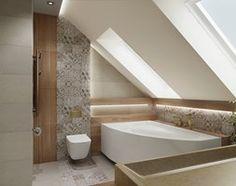 Łazienka ze skosami - Średnia łazienka na poddaszu z oknem, styl nowoczesny - zdjęcie od All Design Agnieszka Lorenc Sloped Ceiling Bathroom, Loft Bathroom, Laundry In Bathroom, Bathrooms, Bad Inspiration, Bathroom Inspiration, Attic Loft, Home Deco, Sweet Home