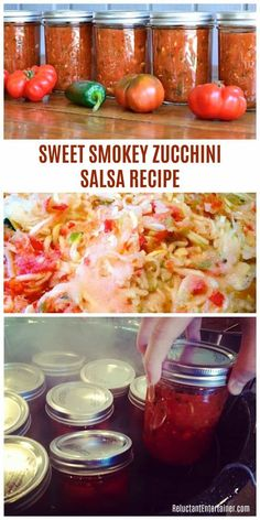 Sweet Smokey Zucchini Salsa Recipe is a salsa preserve to can in the summertime; a great holiday gift! This recipe today yielded about 26 pints of salsa! Canned Zucchini, Zucchini Salsa, Zuchini Relish, Zucchini Pickles, Mexican Zucchini, Salsa Canning Recipes, Canning Salsa, Canning Tips, Salsa Dulce