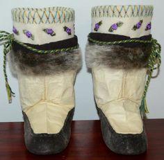 Inuit made girl's sealskin kamiks by Eva Sakiagak Audlaluk