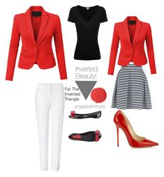 Inverted Beauty with Angela! For the #invertedtriangle -Black Red and White How Chic! by typology on Polyvore featuring James Perse, ESCADA, Jane Norman, Jimmy Choo, RED Valentino, Burberry, BloggerStyle and invertedtriangle