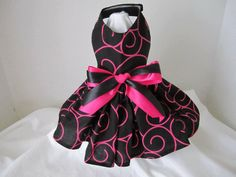 Dog Dress XS Black With Pink Swirls Mommies by NinasCoutureCloset, $15.00
