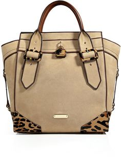 BURBERRY Beige Leatherhaircalf Manor Tote In Honey