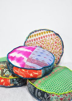 Patchwork Floor Cushion Covers - Indian Kantha Quilt Fabrics by Add @Luvocracy |
