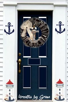 Fabric Wreath for Front Door | Nautical Wreath | Anchor Fabric Wreath | Beach Decor | Shabby Chic Decor | Primitive Wreath | Cottage Style | Coastal Decor | Nautical theme | Nautical Wedding | Nautical Nursery | Nautical home decor | Navy and White Decor | Farmhouse style | Wreaths for Front Door Year Round | All Season Wreaths for Front Door  #nauticaldecor #wreaths #anchorwreath #farmhousestyle #homedecor #beachhousedecor #giftideas #wreathsforfrontdoor #indoorwreath #allseasonwreaths…