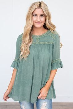 Shop our Vintage Wash Half Sleeve Tunic. Available in rose and green. Free shipping on US orders!