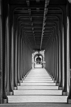 the never-ending underpass (Marie Blin) Gym Interior, Photo B, Optical Illusions, Architecture Design, Art Photography, Scenery, Stairs, Design Inspiration, Black And White
