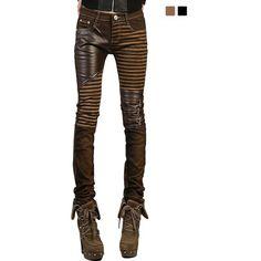 VASHOP Women's Leather Steampunk Pants Skinny Legging Tights Pencil... ($40) ❤ liked on Polyvore featuring pants, leggings, steampunk pants, leather leggings, white pants, legging pants and wide-leg pants