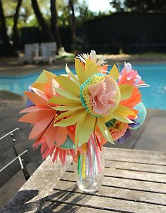 Paper Flower Bouquet With Cupcake Liner Accordian Folded Flowers