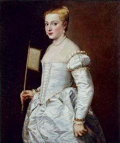 Portrait of a Woman in White by Tizian, ca.1561