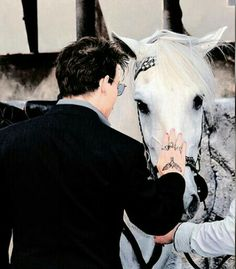 Depp with white horse  So deautiful