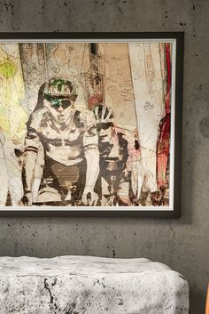 Complex sketch artwork of moment signifies interaction between rivals & legends of modern cycling: Peter Sagan & Greg Van Avermaet suitable as decor for your postmodern interior. Postmodernism, Champs, Cycling, Artwork, Painting, Bicycling, Work Of Art, Biking, Painting Art