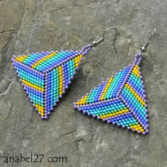 Triangle peyote earrings gradient stripes