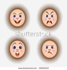 Cartoon emotions prickly smileys.  Expression . Vector icons.