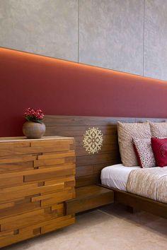 Neer Bungalow - Bedroom Designs by Usine Studio Bedroom Red, Modern Bedroom Design, Master Bedroom Design, Home Bedroom, Bedroom Furniture, Furniture Design, Bedroom Decor, Master Bedrooms, Red Bedrooms