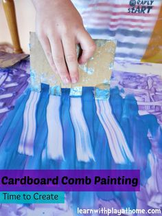 Put away the paintbrush because you're not going to need it. Instead, pick up a recycled piece of cardboard and get to work. This Cardboard Comb Painting craft is a great way to reuse pieces of cardboard when you want to do something creative. Frozen Painting, Painting For Kids, Art For Kids, Painting Activities, Activities For Kids, Preschool Painting, Projects For Kids, Crafts For Kids, Easy Crafts