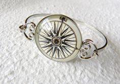 Antique Compass Bangle Bracelet  Choose your by TheGreenDaisyShop, $20.00