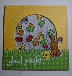 Lawn Fawn - Happy Easter + coordinating dies, Grassy Border, Stitched Square Stackables, Circle Stackables, Let's Polka 6x6 paper _ adorable Happy Easter shaker-card by Catarina via Flickr - Photo Sharing!