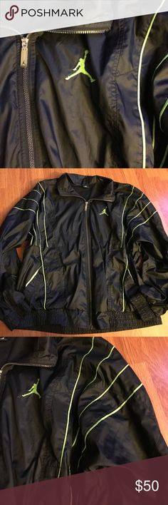 "Mens 3xl Jordan's Black/Neon Windbreaker Like New Like New Condition l Fully Lined Interior Mesh l Black & Neon Tag Size: 3xl l Chest: 48-50"" l Length: 30"" l Sleeves: 23-24""      Very Nice Windbreaker Jacket Jordan Jackets & Coats Windbreakers"