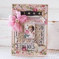 Shabby Vintage Look Bingo Card...with pastel pink bow.