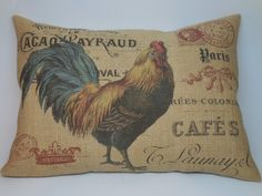 French Rooster Postcard Burlap  Pillow French Farmhouse Rustic Country Feed sack