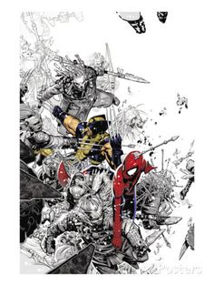 The Amazing Spider-Man No.555 Cover: Spider-Man and Wolverine Posters by Chris Bachalo at AllPosters.com