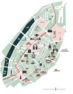 Map illustration of the city center of Copenhagen, Denmark. Inspired by old city maps from Denmark Map, Denmark Travel, Copenhagen Map, Campus Map, Map Projects, Tourist Map, Voyage Europe, Travel Illustration, Map Vector