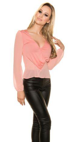 Blusa mujer de gasa salmón atractiva