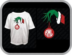 mean green hand with ornament, hand with Christmas ornament, hand with bauble, monogram toddler shirt. Short sleeve only. - pinned by pin4etsy.com
