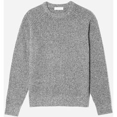 Everlane Men's Ribbed Wool-Cashmere Crew Sweater ($98) ❤ liked on Polyvore featuring men's fashion, men's clothing, men's sweaters, staple, grey melange, mens crewneck sweaters, mens crew neck sweaters, men's wool crew neck sweaters, mens wool sweaters and mens sweaters