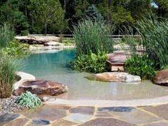 Zwemvijver met bestrating van flagstones en aangekleed met keien en beplanting