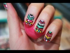 Colorful Aztec and Tribal Inspired Nail Tutorial - http://www.nailtech6.com/beautyful-aztec-tribal-nail-art-tutorial/