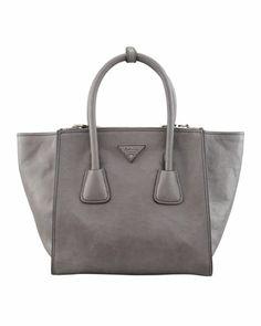 Soft Calf Small Twin Pocket Tote Bag, Gray by Prada at Neiman Marcus.