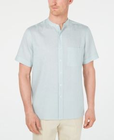 02a8bdf0 Tasso Elba Men's Crossdye Linen Banded Collar Shirt, Created for Macy's -  Blue 2XL Button