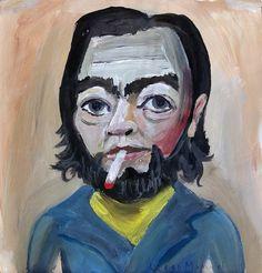 Julio Cortazar, acrylic on paper, 25 x 24 cm. Pintura en venta de la Serie Retratos. Painting for sale of the Series Portraits.